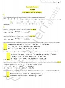 Paniere di matematica finanziaria 6CFU  (con svolgimento) - Multiple - eCampus