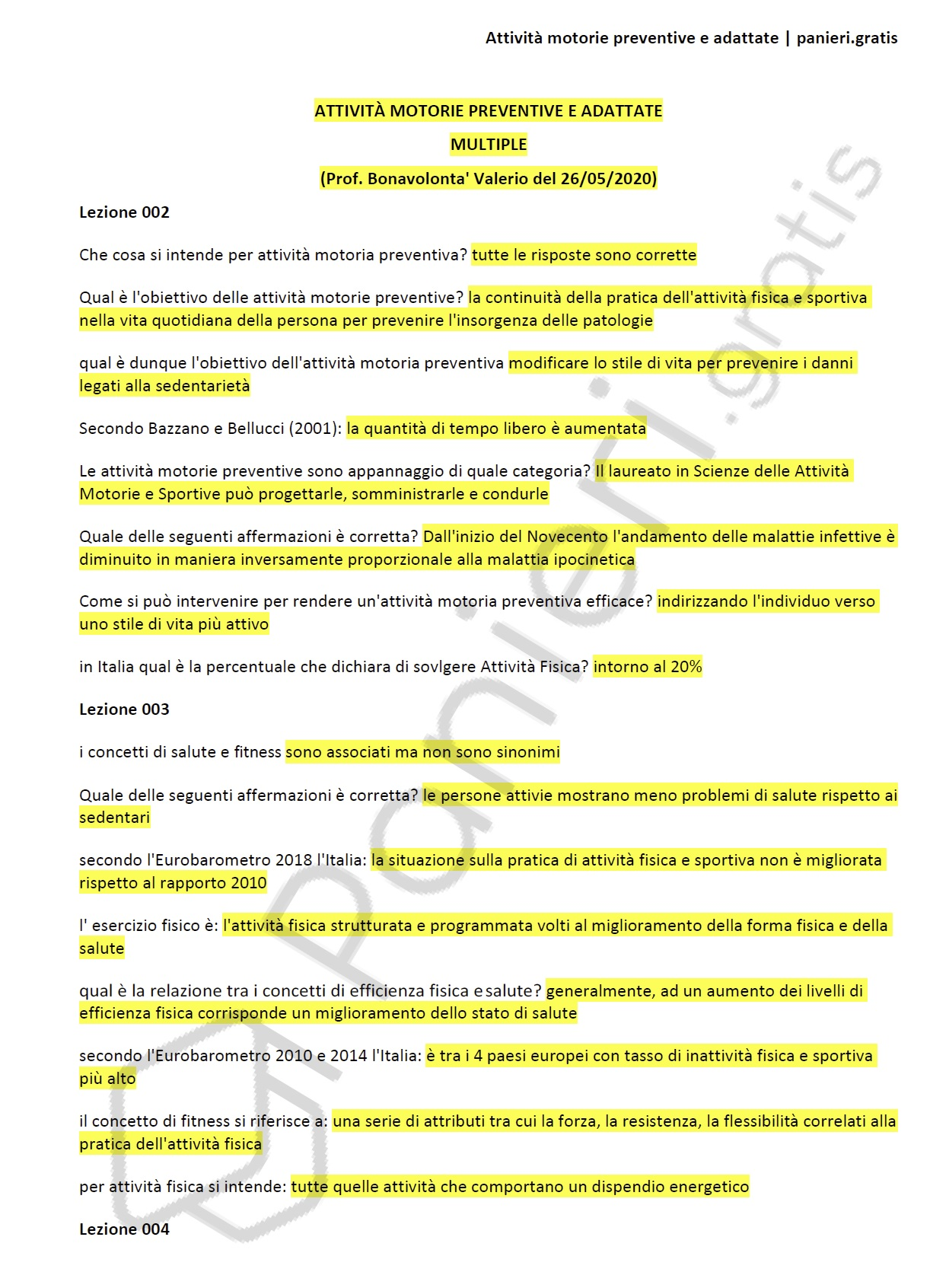 Paniere Di Attivita Motorie Preventive E Adattate Multiple Ecampus Panieri Gratis