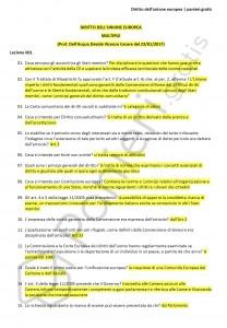 Paniere di Diritto dell'unione europea - Multiple - Scienze politiche - eCampus