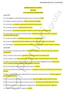 Paniere di Metodologia della ricerca - Multiple - Scienze e tecniche psicologiche - eCampus