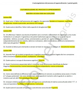 """Paniere di L'autoregolazione del processo di apprendimento - Master """"a scuola oggi"""" - eCampus"""
