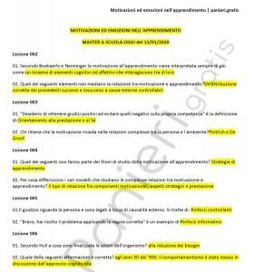 """Paniere di Motivazioni ed emozioni nell'apprendimento - Master """"A scuola oggi"""" - eCampus"""
