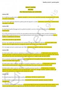 Paniere di Quality control - Multiple - Ingegneria industriale - eCampus