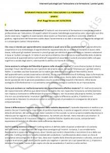 Paniere di Interventi psicologici per l'educazione e la formazione - Aperte - eCampus