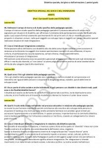 Paniere di Didattica speciale, del gioco e dell'animazione - Aperte - eCampus