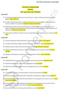 Paniere di Etica della comunicazione - Multiple - Scienze della comunicazione - eCampus