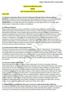 Paniere di Lingua e letteratura latina - Aperte - Lams - eCampus